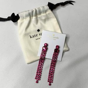 New Kate Spade Fuchsia Glitzville Fringe Earrings